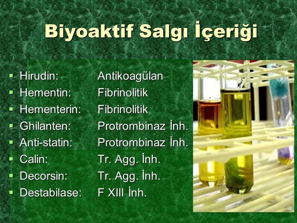 Biyoaktif Salgı İçeriği  Hirudin: Antikoagülan  Hementin:Fibrinolitik  Hementerin:Fibrinolitik  Ghilanten:Protrombinaz İnh.  Anti-statin:Protromb