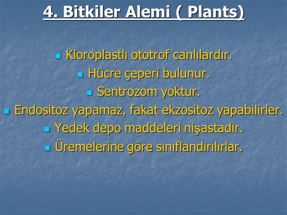 4. Bitkiler Alemi ( Plants) Kloroplastlı ototrof canlılardır. Kloroplastlı ototrof canlılardır. Hücre çeperi bulunur. Hücre çeperi bulunur. Sentrozom