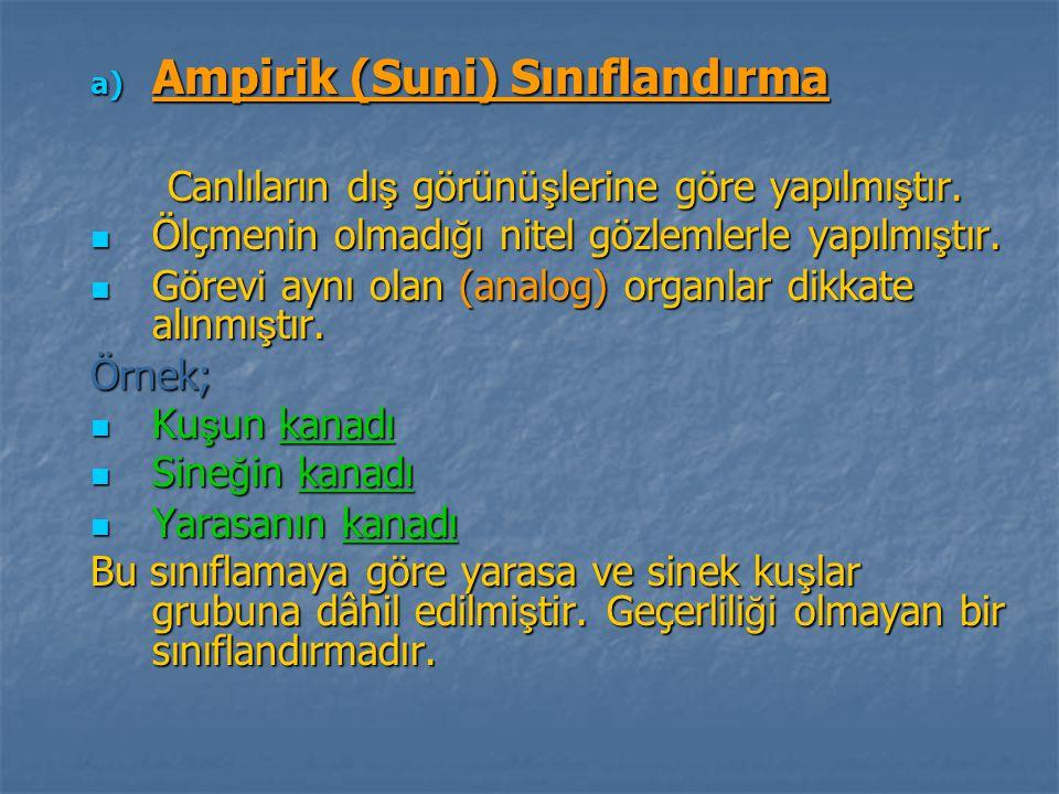 a) Ampirik (Suni) Sınıflandırma Canlıların dı ş görünü ş lerine göre yapılmı ş tır. Canlıların dı ş görünü ş lerine göre yapılmı ş tır. Ölçmenin olmad