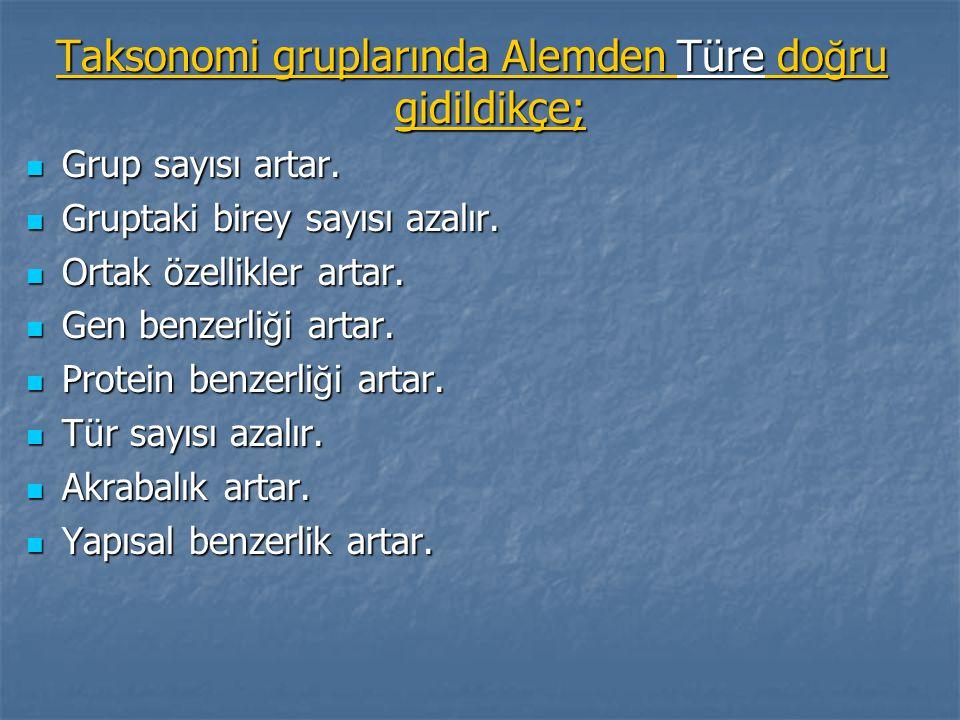 Taksonomi gruplarında Alemden Türe do ğ ru gidildikçe; Grup sayısı artar. Grup sayısı artar. Gruptaki birey sayısı azalır. Gruptaki birey sayısı azalı