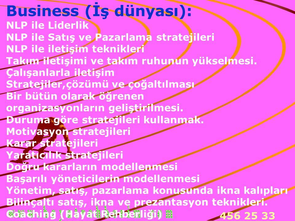 456 25 33 Business (İş dünyası): NLP ile Liderlik NLP ile Satış ve Pazarlama stratejileri NLP ile iletişim teknikleri Takım iletişimi ve takım ruhunun