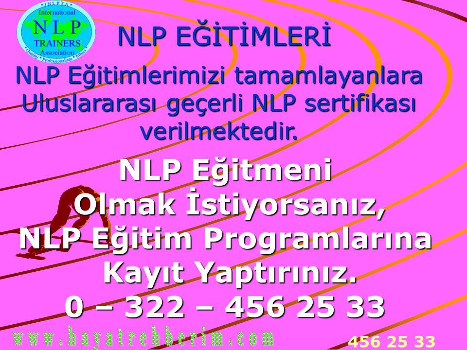 456 25 33 NLP EĞİTİMLERİ NLP Eğitimlerimizi tamamlayanlara Uluslararası geçerli NLP sertifikası verilmektedir. NLP Eğitmeni Olmak İstiyorsanız, Olmak