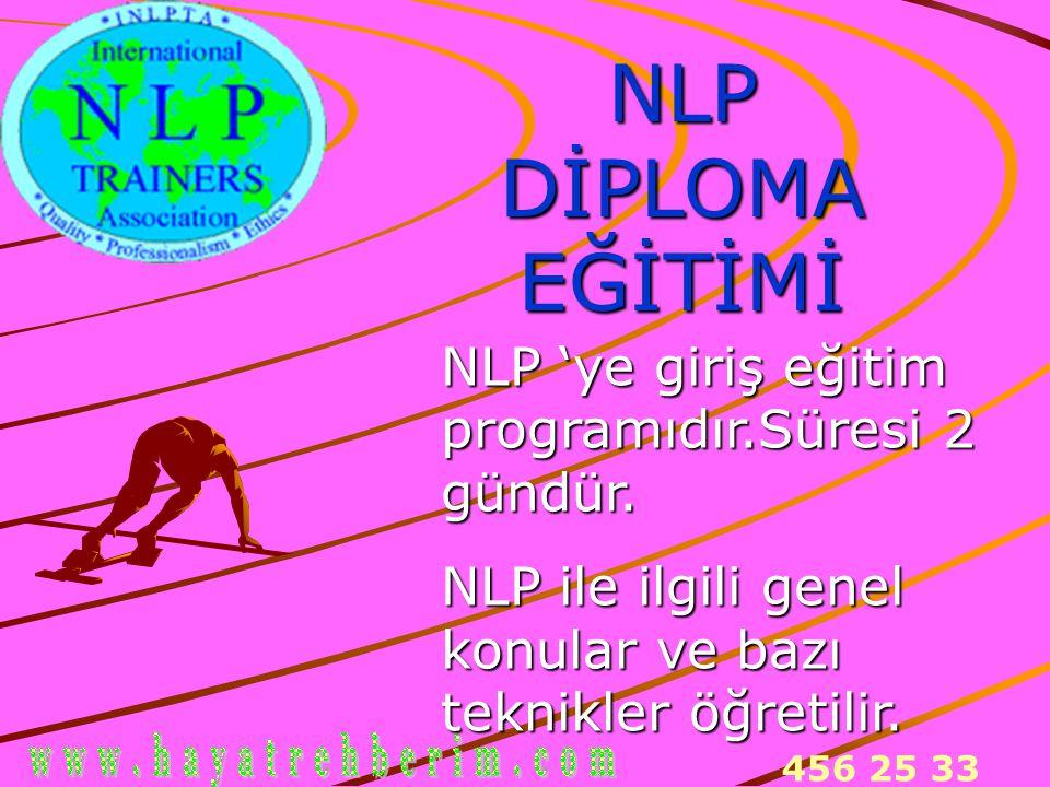 456 25 33 NLP DİPLOMA EĞİTİMİ NLP 'ye giriş eğitim programıdır.Süresi 2 gündür. NLP ile ilgili genel konular ve bazı teknikler öğretilir.