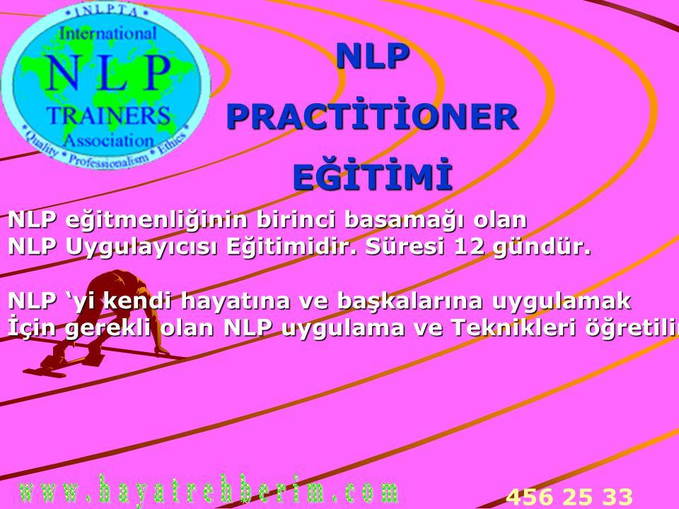 456 25 33 NLPPRACTİTİONEREĞİTİMİ NLP eğitmenliğinin birinci basamağı olan NLP Uygulayıcısı Eğitimidir. Süresi 12 gündür. NLP 'yi kendi hayatına ve baş