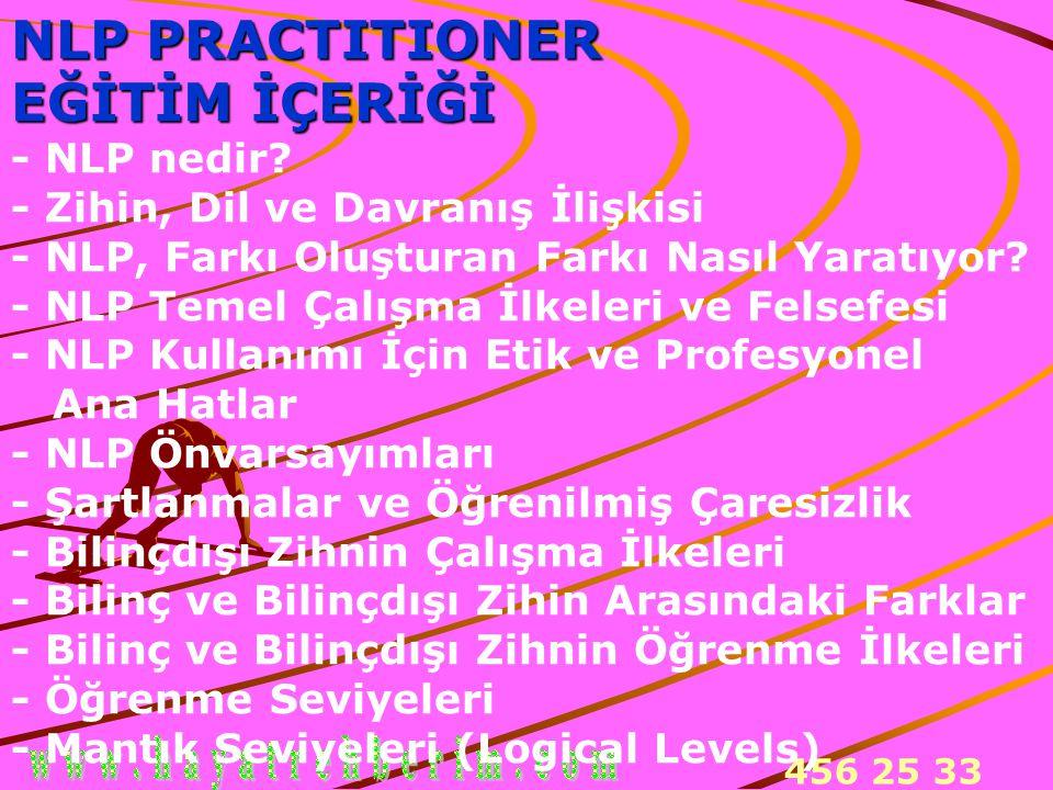 456 25 33 NLP PRACTITIONER EĞİTİM İÇERİĞİ EĞİTİM İÇERİĞİ - NLP nedir? - Zihin, Dil ve Davranış İlişkisi - NLP, Farkı Oluşturan Farkı Nasıl Yaratıyor?