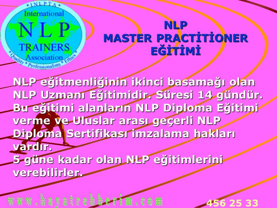 456 25 33 NLP MASTER PRACTİTİONER EĞİTİMİ NLP eğitmenliğinin ikinci basamağı olan NLP Uzmanı Eğitimidir. Süresi 14 gündür. Bu eğitimi alanların NLP Di