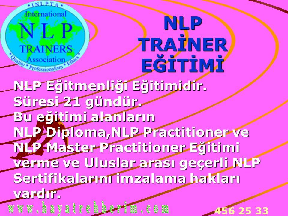 456 25 33 NLPTRAİNEREĞİTİMİ NLP Eğitmenliği Eğitimidir. Süresi 21 gündür. Bu eğitimi alanların NLP Diploma,NLP Practitioner ve NLP Master Practitioner