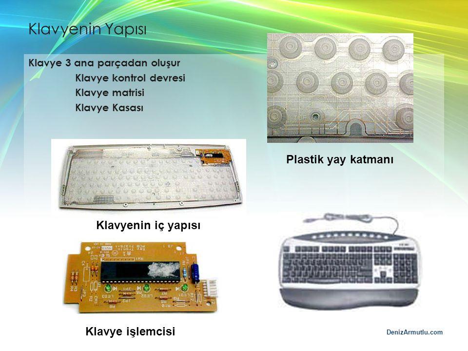 DenizArmutlu.com Klavyenin Yapısı Klavye 3 ana parçadan oluşur Klavye kontrol devresi Klavye matrisi Klavye Kasası Klavyenin iç yapısı Klavye işlemcis