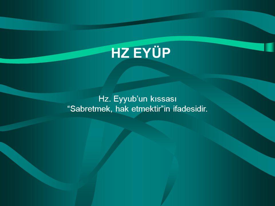 """Hz. Eyyub'un kıssası """"Sabretmek, hak etmektir""""in ifadesidir. HZ EYÜP"""