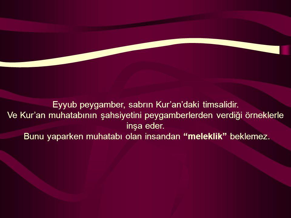 Eyyub peygamber, sabrın Kur'an'daki timsalidir. Ve Kur'an muhatabının şahsiyetini peygamberlerden verdiği örneklerle inşa eder. Bunu yaparken muhatabı