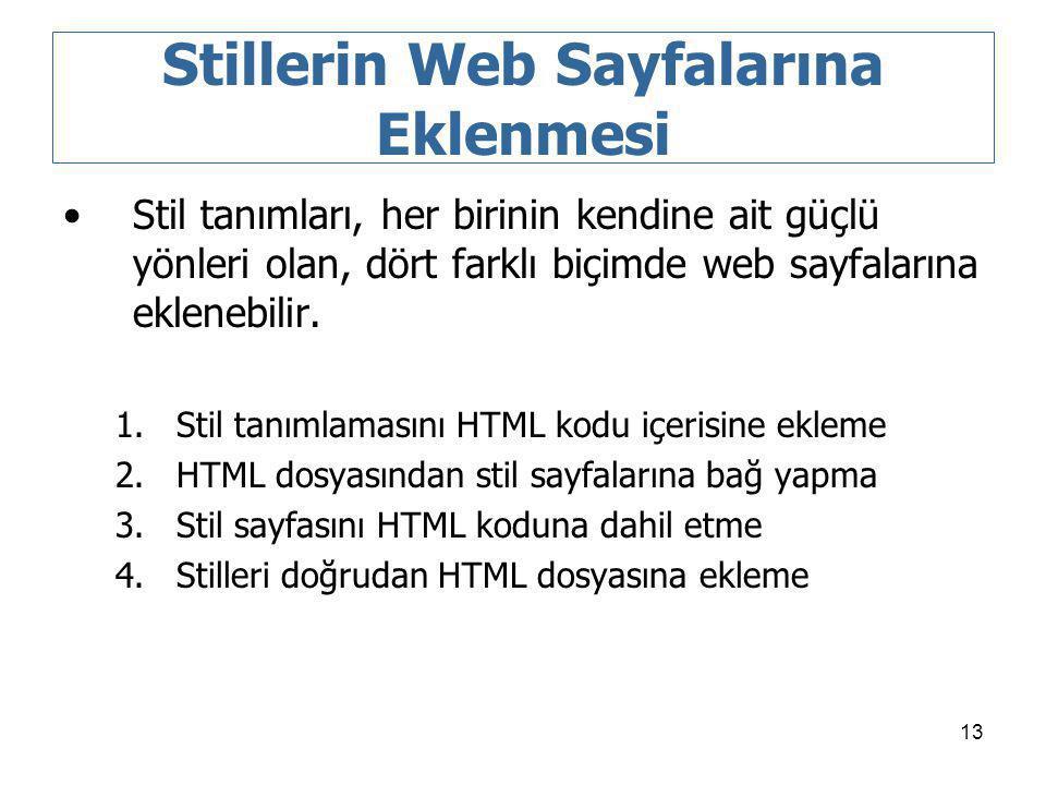 13 Stillerin Web Sayfalarına Eklenmesi Stil tanımları, her birinin kendine ait güçlü yönleri olan, dört farklı biçimde web sayfalarına eklenebilir. 1.