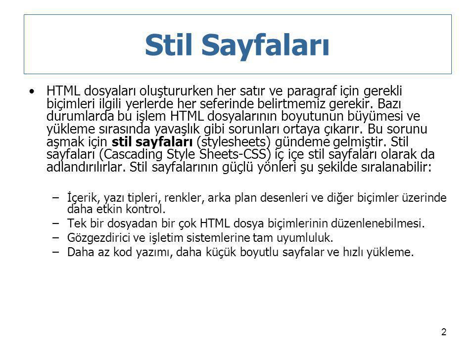 2 Stil Sayfaları HTML dosyaları oluştururken her satır ve paragraf için gerekli biçimleri ilgili yerlerde her seferinde belirtmemiz gerekir. Bazı duru
