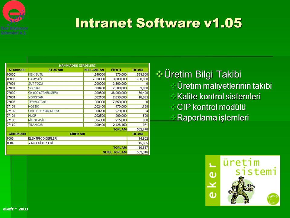 eSoft™ 2003  Üretim Bilgi Takibi  Üretim maliyetlerinin takibi  Kalite kontrol sistemleri  CIP kontrol modülü  Raporlama işlemleri Intranet Softw