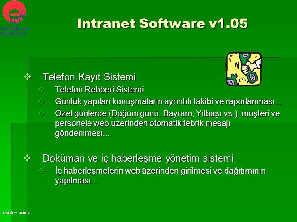eSoft™ 2003  Telefon Kayıt Sistemi  Telefon Rehberi Sistemi  Günlük yapılan konuşmaların ayrıntılı takibi ve raporlanması...  Özel günlerde (Doğum