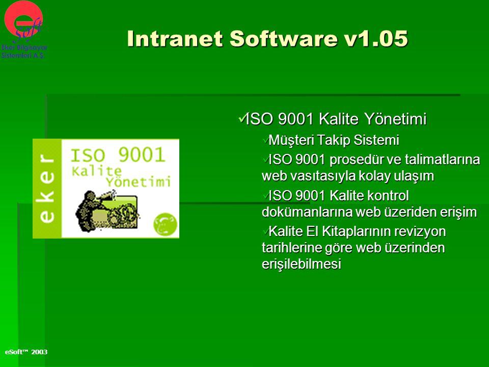 eSoft™ 2003 ISO 9001 Kalite Yönetimi ISO 9001 Kalite Yönetimi Müşteri Takip Sistemi Müşteri Takip Sistemi ISO 9001 prosedür ve talimatlarına web vasıt