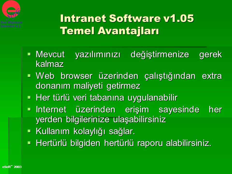 eSoft ™ 2003  Mevcut yazılımınızı değiştirmenize gerek kalmaz  Web browser üzerinden çalıştığından extra donanım maliyeti getirmez  Her türlü veri