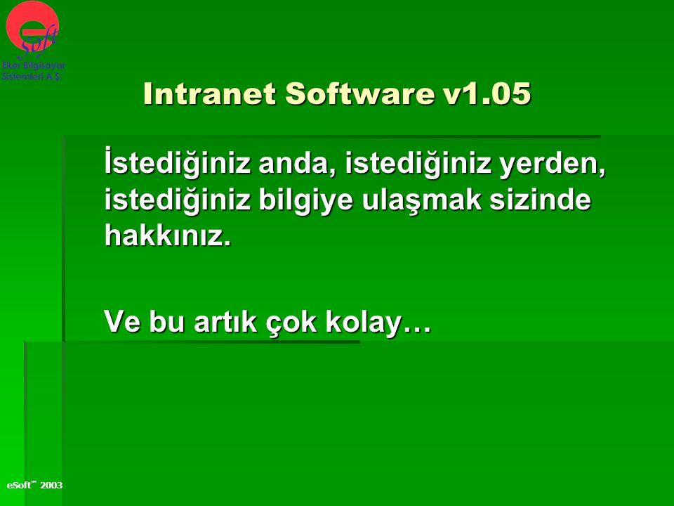 eSoft ™ 2003 İstediğiniz anda, istediğiniz yerden, istediğiniz bilgiye ulaşmak sizinde hakkınız. Ve bu artık çok kolay… Intranet Software v1.05