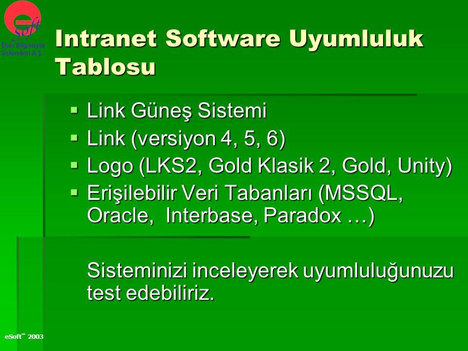 eSoft ™ 2003 Intranet Software Uyumluluk Tablosu  Link Güneş Sistemi  Link (versiyon 4, 5, 6)  Logo (LKS2, Gold Klasik 2, Gold, Unity)  Erişilebil