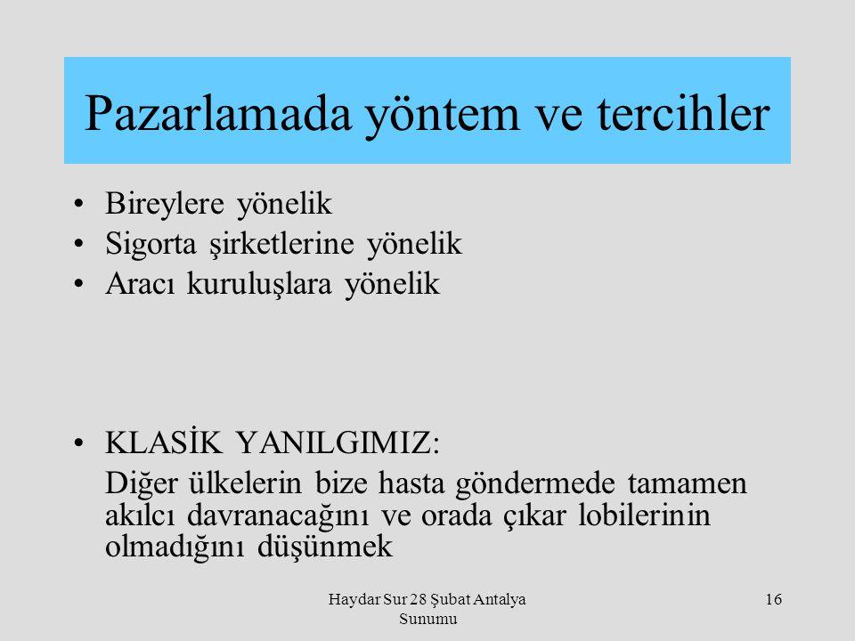 Haydar Sur 28 Şubat Antalya Sunumu 16 Bireylere yönelik Sigorta şirketlerine yönelik Aracı kuruluşlara yönelik KLASİK YANILGIMIZ: Diğer ülkelerin bize
