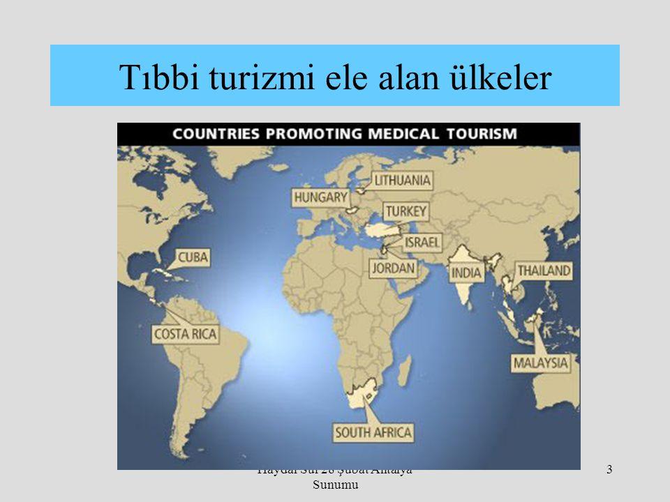 Haydar Sur 28 Şubat Antalya Sunumu 3 Tıbbi turizmi ele alan ülkeler