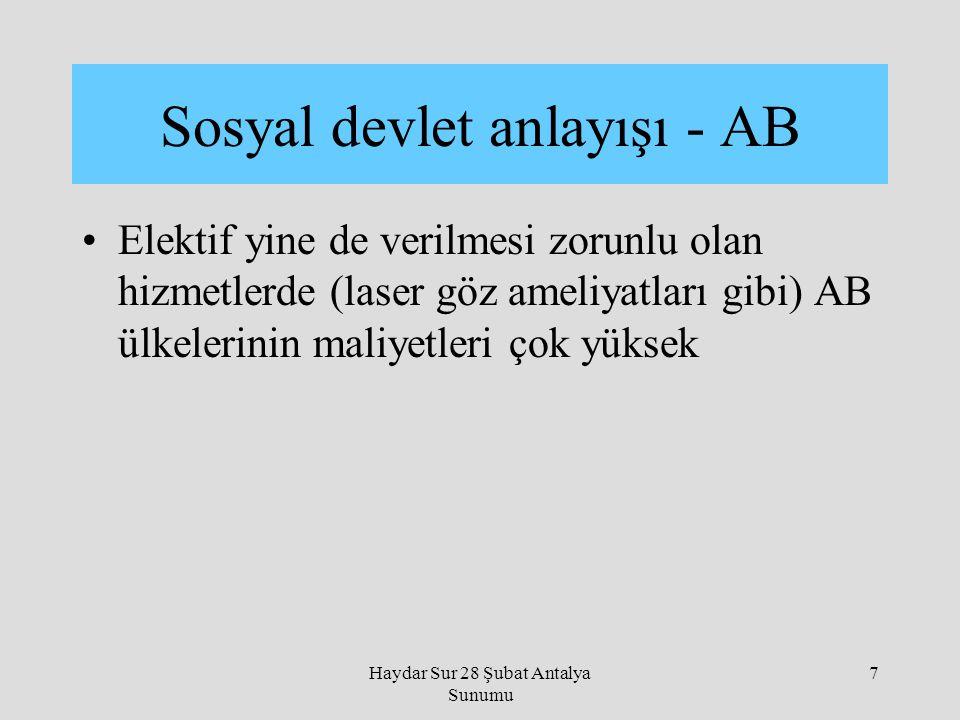 Haydar Sur 28 Şubat Antalya Sunumu 7 Elektif yine de verilmesi zorunlu olan hizmetlerde (laser göz ameliyatları gibi) AB ülkelerinin maliyetleri çok y
