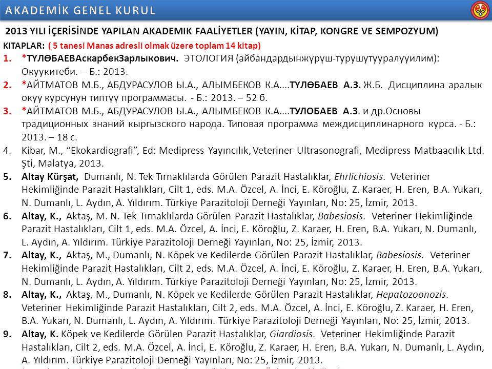 2013 YILI İÇERİSİNDE YAPILAN AKADEMIK FAALİYETLER (YAYIN, KİTAP, KONGRE VE SEMPOZYUM) KITAPLAR: 10.Dumanlı, N., Aktaş, M., Altay, K.