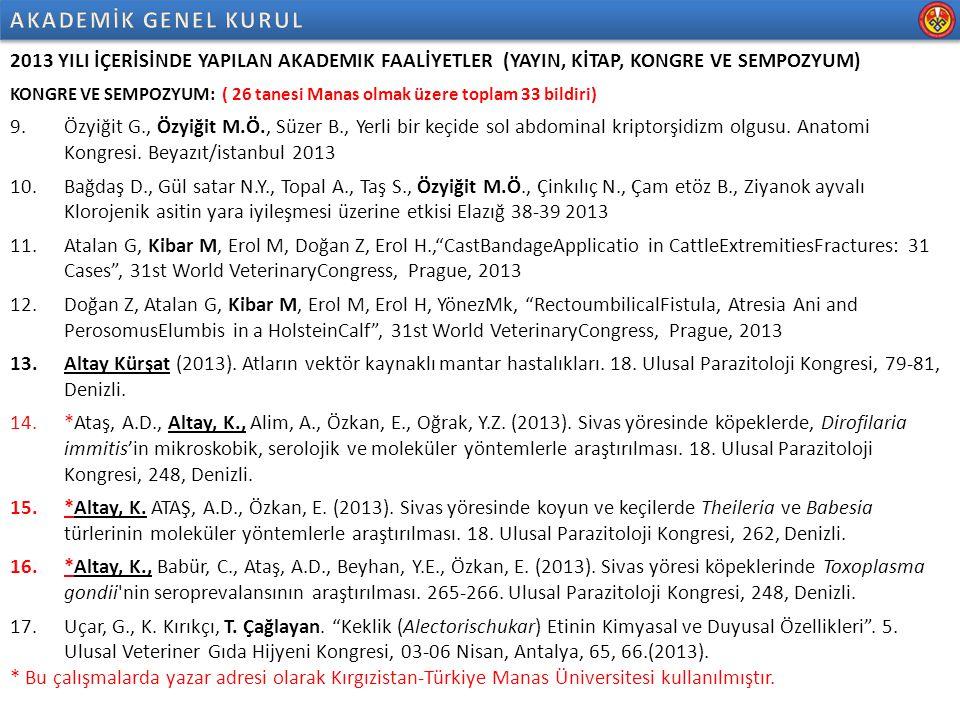 2013 YILI İÇERİSİNDE YAPILAN AKADEMIK FAALİYETLER (YAYIN, KİTAP, KONGRE VE SEMPOZYUM) KONGRE VE SEMPOZYUM: 18.Polat, E.S., T.