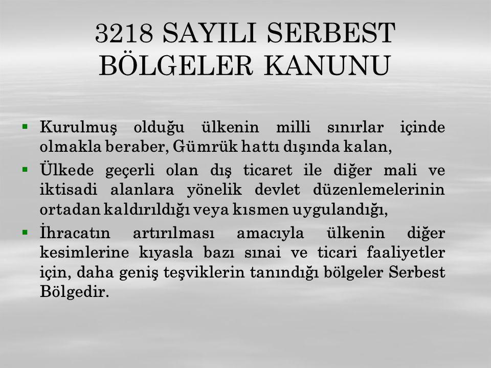 3218 SAYILI SERBEST BÖLGELER KANUNU   Kurulmuş olduğu ülkenin milli sınırlar içinde olmakla beraber, Gümrük hattı dışında kalan,   Ülkede geçerli