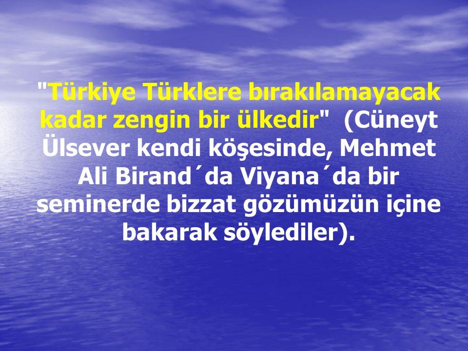 Türkiye Türklere bırakılamayacak kadar zengin bir ülkedir (Cüneyt Ülsever kendi köşesinde, Mehmet Ali Birand´da Viyana´da bir seminerde bizzat gözümüzün içine bakarak söylediler).