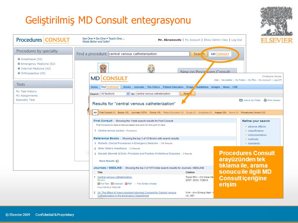 © Elsevier 2009Confidential & Proprietary Geliştirilmiş MD Consult entegrasyonu Procedures Consult arayüzünden tek tıklama ile, arama sonucu ile ilgili MD Consult içeriğine erişim