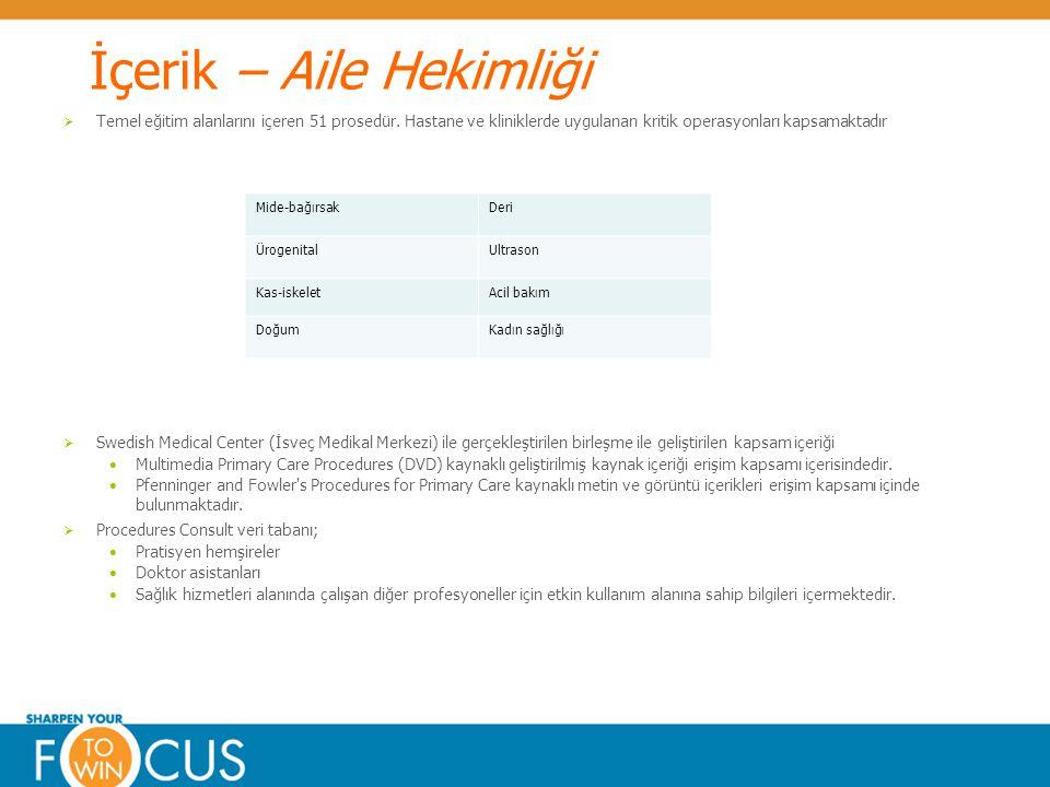 © Elsevier 2009Confidential & Proprietary İçerik – Aile Hekimliği  Temel eğitim alanlarını içeren 51 prosedür. Hastane ve kliniklerde uygulanan kriti