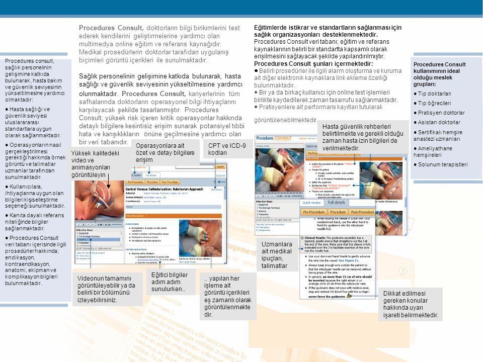 © Elsevier 2009Confidential & Proprietary Procedures Consult, doktorların bilgi birikimlerini test ederek kendilerini geliştirmelerine yardımcı olan multimedya online eğitim ve referans kaynağıdır.