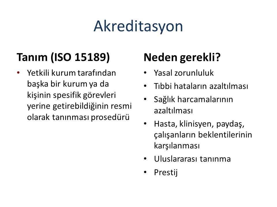 Akreditasyon Tanım (ISO 15189) Yetkili kurum tarafından başka bir kurum ya da kişinin spesifik görevleri yerine getirebildiğinin resmi olarak tanınmas
