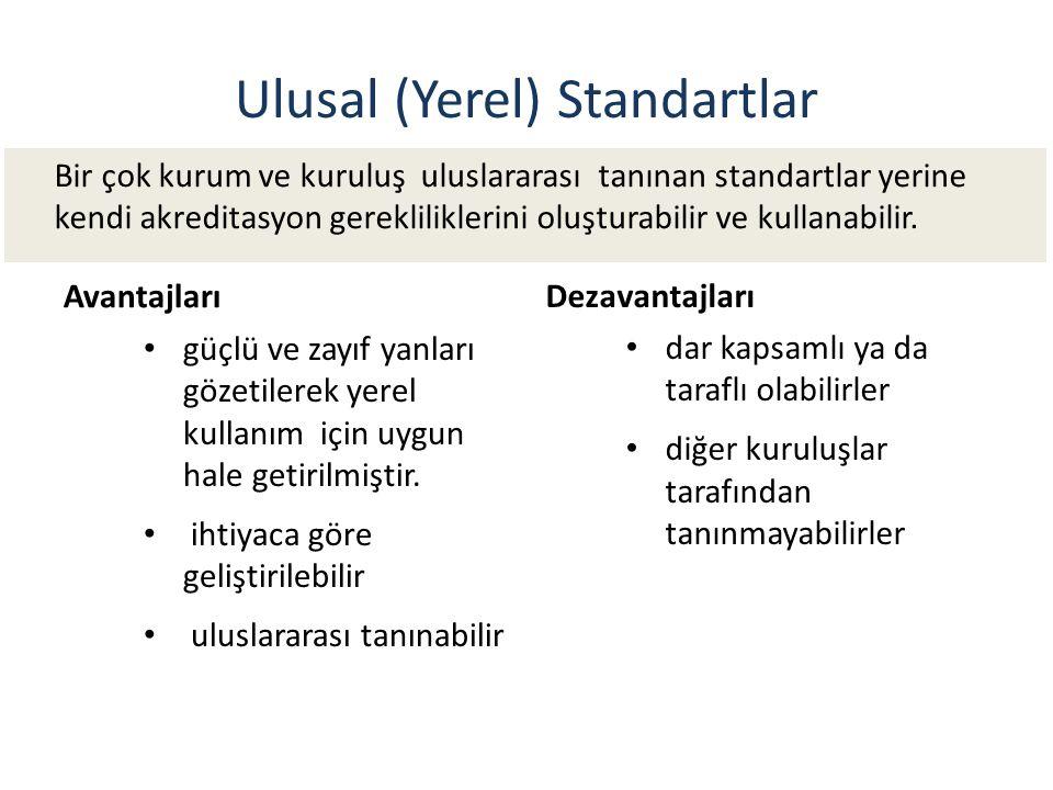 Ulusal (Yerel) Standartlar. Avantajları güçlü ve zayıf yanları gözetilerek yerel kullanım için uygun hale getirilmiştir. ihtiyaca göre geliştirilebili