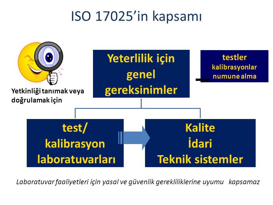 ISO 17025'in kapsamı Laboratuvar faaliyetleri için yasal ve güvenlik gerekliliklerine uyumu kapsamaz Yeterlilik için genel gereksinimler test/ kalibra