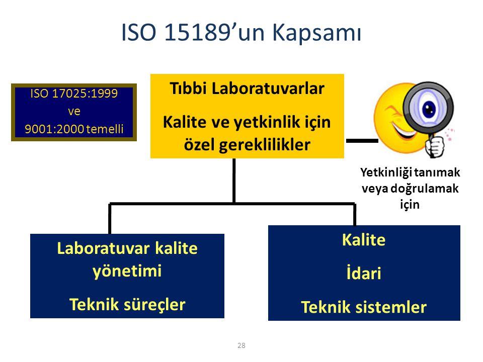 28 ISO 15189'un Kapsamı ISO 17025:1999 ve 9001:2000 temelli Yetkinliği tanımak veya doğrulamak için Laboratuvar kalite yönetimi Teknik süreçler Tıbbi