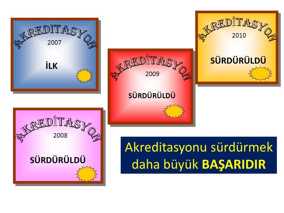 2008 SÜRDÜRÜLDÜ 2009 SÜRDÜRÜLDÜ 2010 SÜRDÜRÜLDÜ 2007 İLK Akreditasyonu sürdürmek daha büyük BAŞARIDIR