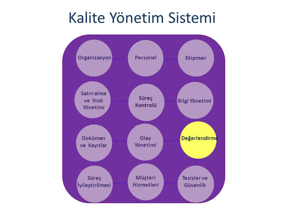 Kalite Yönetim Sistemi OrganizasyonPersonel Ekipman Satın alma ve Stok Yönetimi Bilgi Yönetimi Doküman ve Kayıtlar Olay Yönetimi Süreç İyileştirilmesi Müşteri Hizmetleri Tesisler ve Güvenlik Süreç Kontrolü Değerlendirme Katkı.
