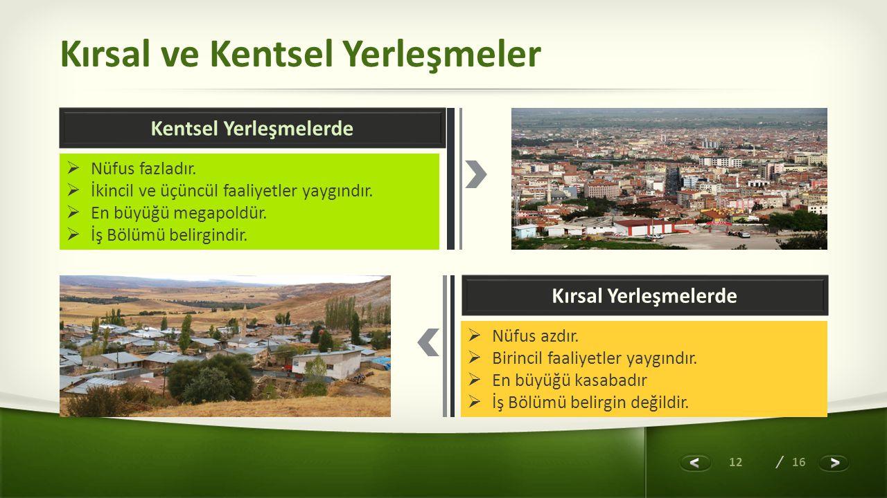 12 / 16 Kırsal ve Kentsel Yerleşmeler Kentsel Yerleşmelerde Kırsal Yerleşmelerde  Nüfus fazladır.  İkincil ve üçüncül faaliyetler yaygındır.  En bü