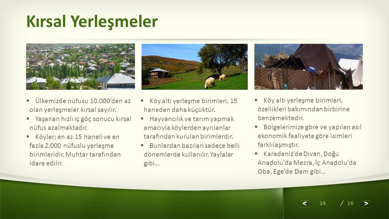 14 / 16 Kırsal Yerleşmeler  Köy altı yerleşme birimleri, özellikleri bakımından birbirine benzemektedir.  Bölgelerimize göre ve yapılan asıl ekonomi