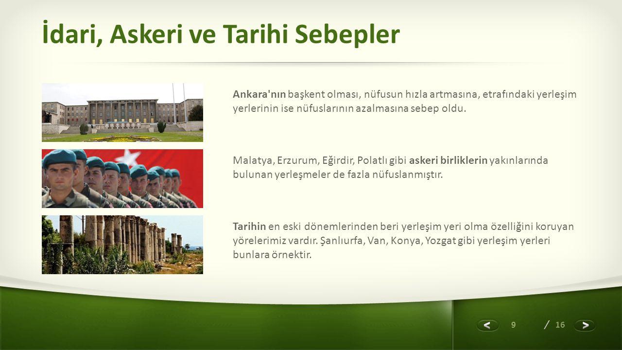 9 / 16 İdari, Askeri ve Tarihi Sebepler Ankara'nın başkent olması, nüfusun hızla artmasına, etrafındaki yerleşim yerlerinin ise nüfuslarının azalmasın