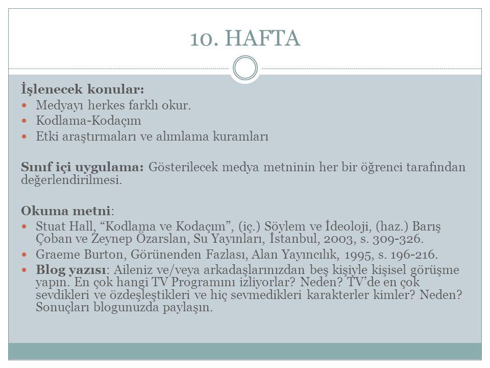 10. HAFTA İşlenecek konular: Medyayı herkes farklı okur. Kodlama-Kodaçım Etki araştırmaları ve alımlama kuramları Sınıf içi uygulama: Gösterilecek med