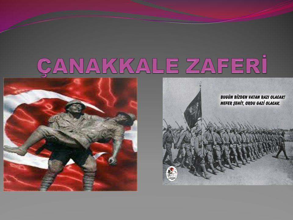 Çanakkale zaferi ÇANAKKALE NAMUSTUR GEÇİLMEZ Türkün yurdu imanlı er dolu, ser dolu Kırar kendine kalkan kolu hak.