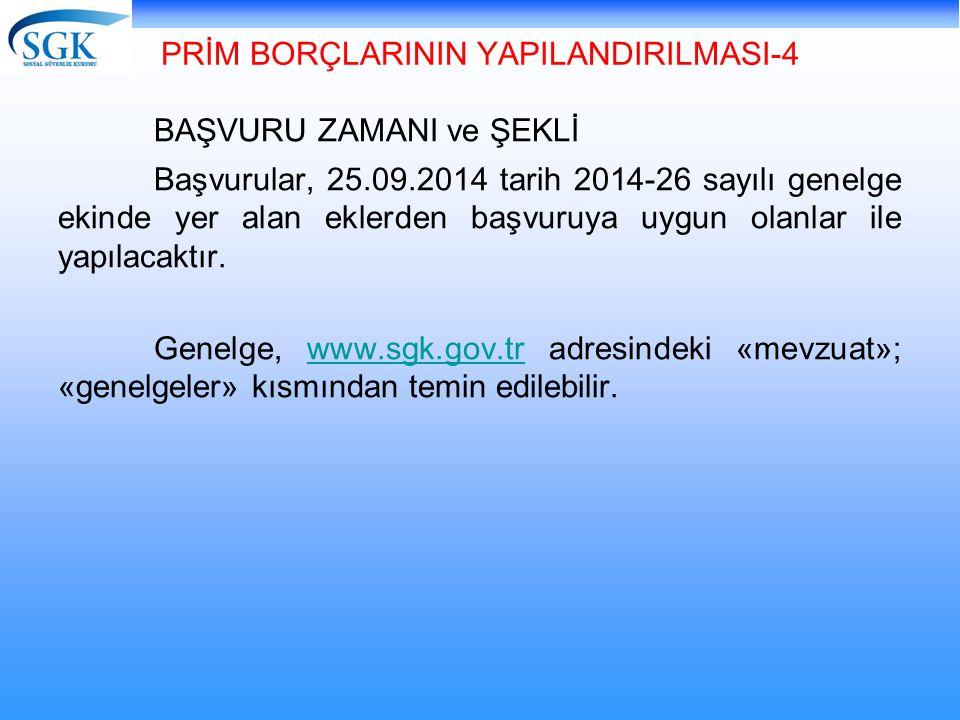 PRİM BORÇLARININ YAPILANDIRILMASI-4 BAŞVURU ZAMANI ve ŞEKLİ Başvurular, 25.09.2014 tarih 2014-26 sayılı genelge ekinde yer alan eklerden başvuruya uyg