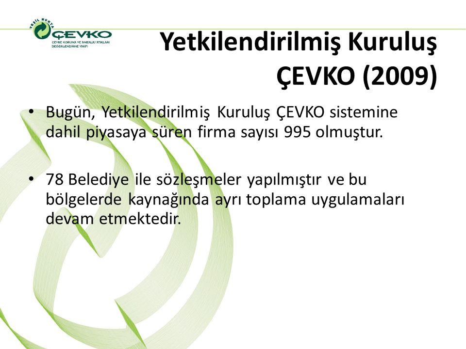 Yetkilendirilmiş Kuruluş ÇEVKO (2009) Bugün, Yetkilendirilmiş Kuruluş ÇEVKO sistemine dahil piyasaya süren firma sayısı 995 olmuştur. 78 Belediye ile