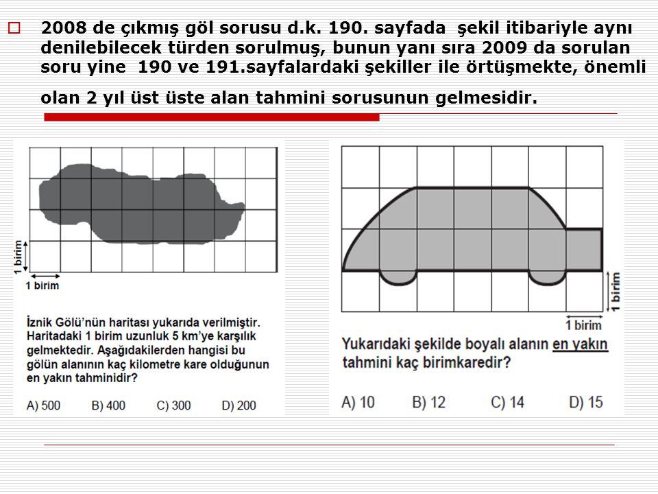  2008 de çıkmış göl sorusu d.k. 190. sayfada şekil itibariyle aynı denilebilecek türden sorulmuş, bunun yanı sıra 2009 da sorulan soru yine 190 ve 19