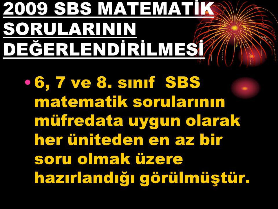 2009 SBS MATEMATİK SORULARININ DEĞERLENDİRİLMESİ 6, 7 ve 8. sınıf SBS matematik sorularının müfredata uygun olarak her üniteden en az bir soru olmak ü