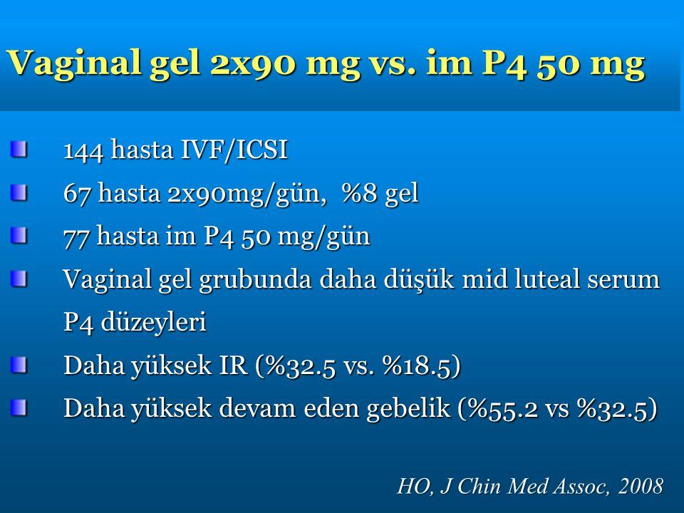 Vaginal gel 2x90 mg vs. im P4 50 mg HO, J Chin Med Assoc, 2008 144 hasta IVF/ICSI 67 hasta 2x90mg/gün, %8 gel 77 hasta im P4 50 mg/gün Vaginal gel gru