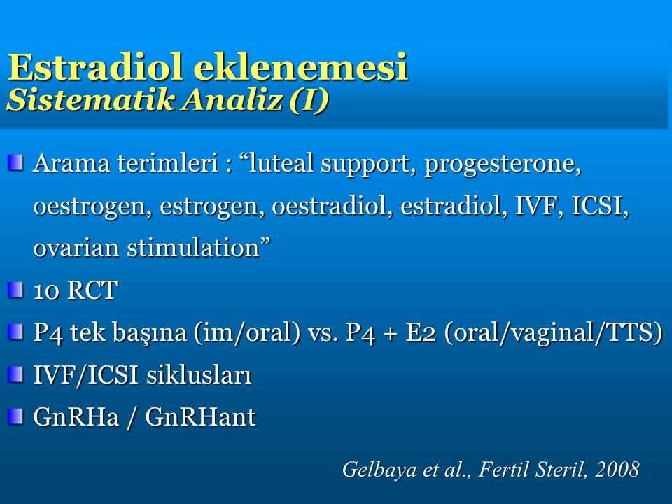 "Estradiol eklenemesi Sistematik Analiz (I) Arama terimleri : ""luteal support, progesterone, oestrogen, estrogen, oestradiol, estradiol, IVF, ICSI, ova"