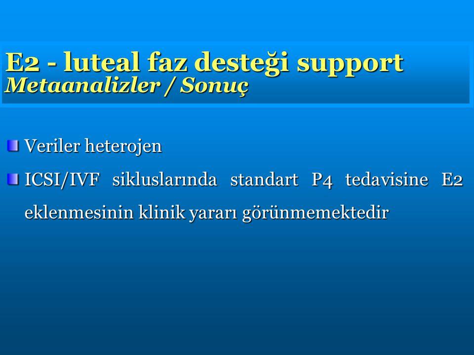 E2 - luteal faz desteği support Metaanalizler / Sonuç Veriler heterojen ICSI/IVF sikluslarında standart P4 tedavisine E2 eklenmesinin klinik yararı görünmemektedir